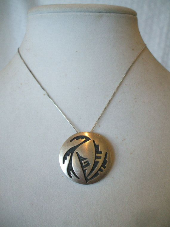 Signed Vintage Hopi Overlay Pendant With 16 Quot Sterling