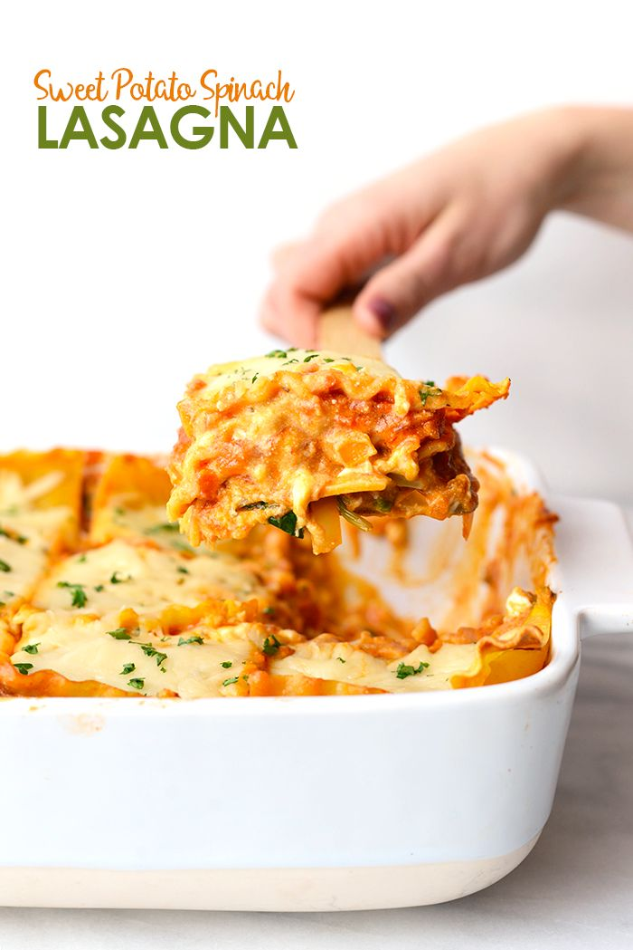 Sweet Potato Spinach Lasagna - Amp up classic lasagna and pack it full of veggies for a hearty yet healthy dinner recipe that's perfect for Meatless Monday!
