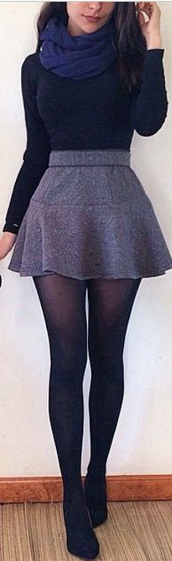 fall outfit ideas / navy scarf + gray skirt  Would prefer the skirt to be slightly longer so I could wear it to work!