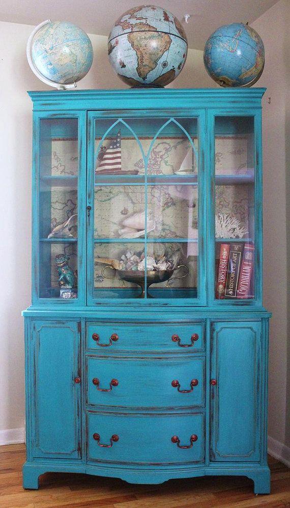 Teal Vintage China Cabinet/Dresser by LaVantteHome on Etsy, $700.00