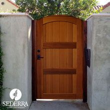 Wood Gates Unique Wood Gates J&W offers SIX Sederra Gates In-stock as well as has the capability to create a one of kind custom wood gates, we have options to suit every taste. A Sederra Western Red Cedar Gate will set your home apart.