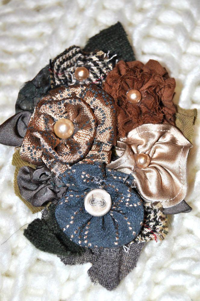 brown tan cream grey blue rose flower brooch coat hat pin corsage vintage 10 cm