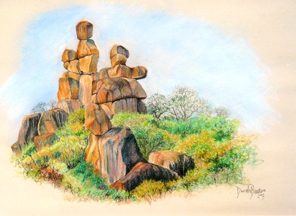 """The King's Chair"". Rock formation in the Matopos National Park - near Bulawayo, Zimbabwe. Soft pastel on paper - by Dinah Beaton"