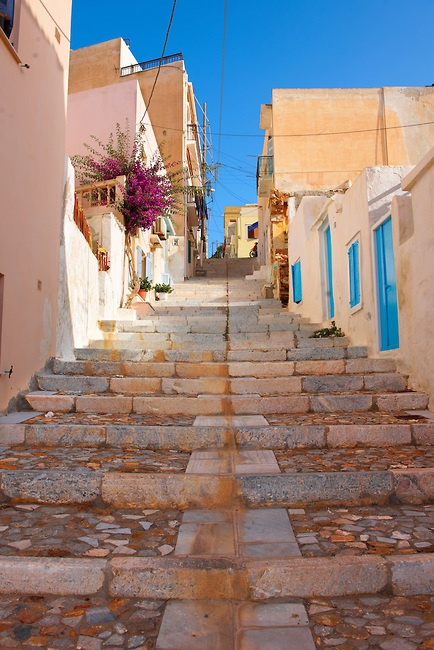 The steps and houses of Vrodado Hill,  Ermoupolis, Syros [ ????? ] , Greek Cyclades Islands