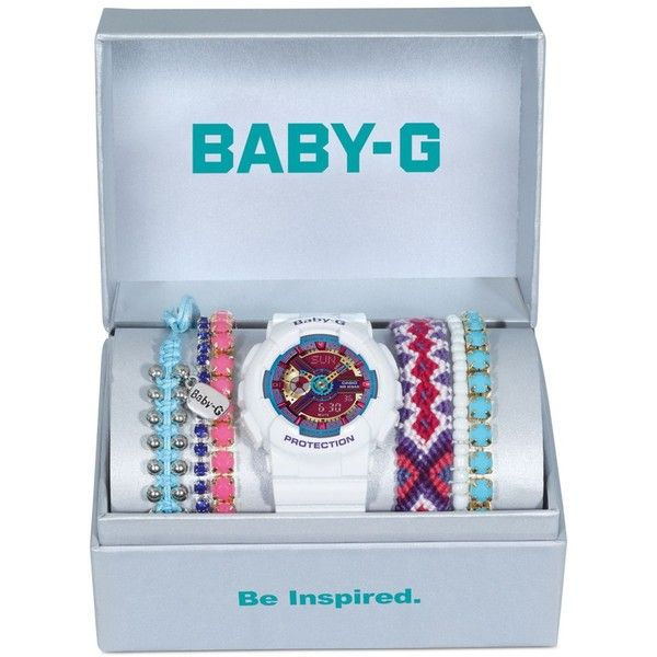 Baby-g Women's White Resin Strap Watch and Bracelets Gift Set 46x43mm... ($120) ❤ liked on Polyvore featuring jewelry, watches, white, white wrist watch, g shock watches, white watches, g shock wrist watch and white jewelry