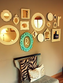 Collage of mirrors with the turquoise frame that I love...