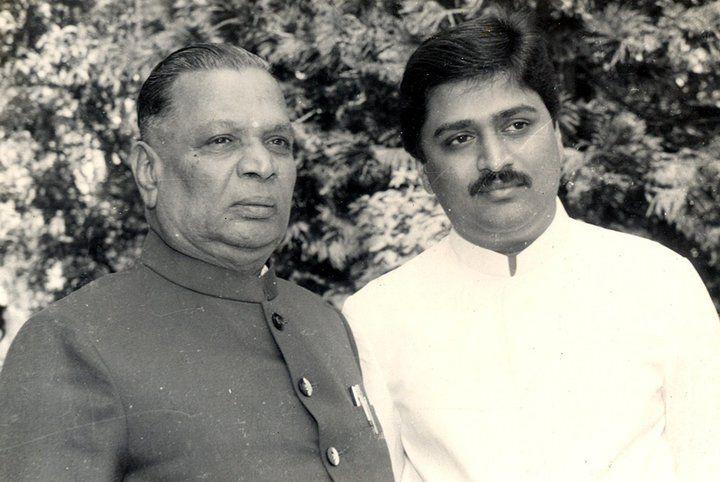 Ashok Chavan with Late Shankarrao Chavan Photo.