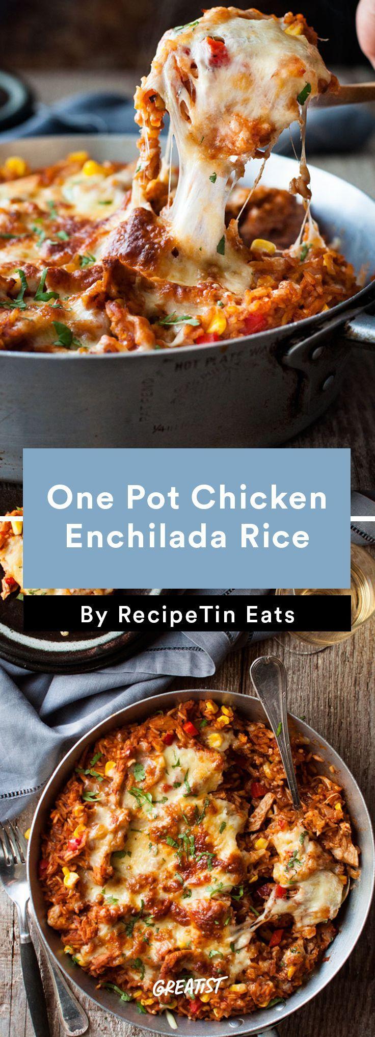 6. Chicken Enchilada Rice #healthy #chicken #recipes http://greatist.com/eat/easy-chicken-recipes-one-dish-dinner-ideas                                                                                                                                                     More