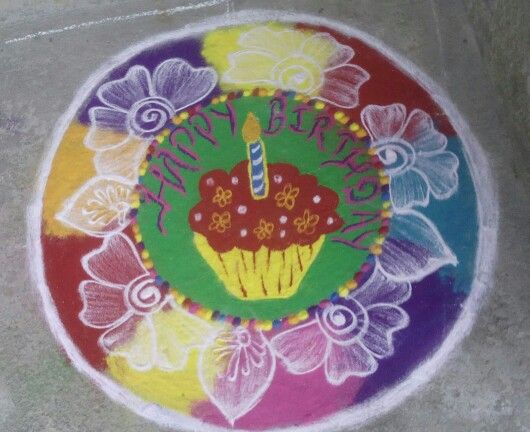 Birthday rangoli design