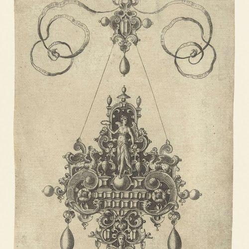 Hanger met Victoria, laurierkrans in de hand, Anonymous, after Hans Collaert (I), 1581 - Rijksmuseum