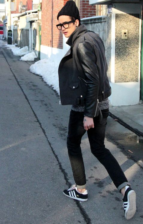 .simple and chic for fall. leather biker jackets, denim, easy sneakers