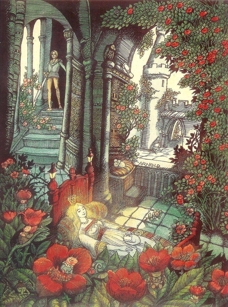 Иллюстрации к сказке шиповничек братья гримм