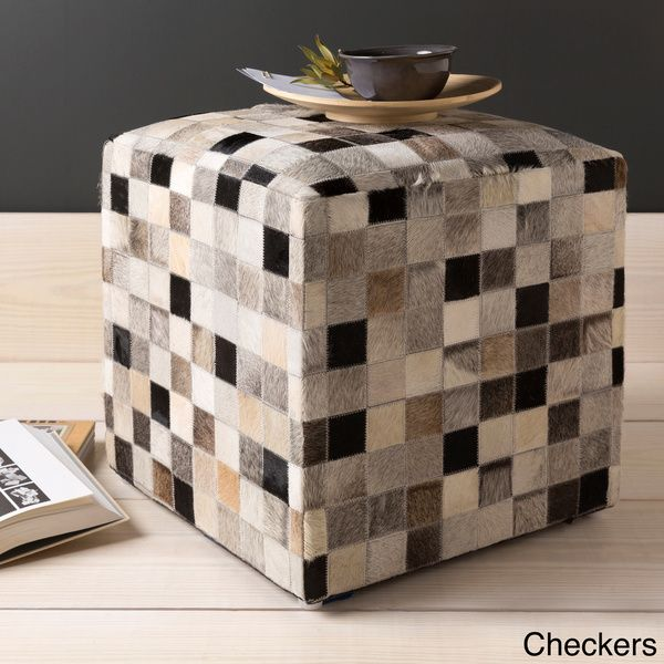Cattle Range 18-inch Leather Cowhide Cube Pouf