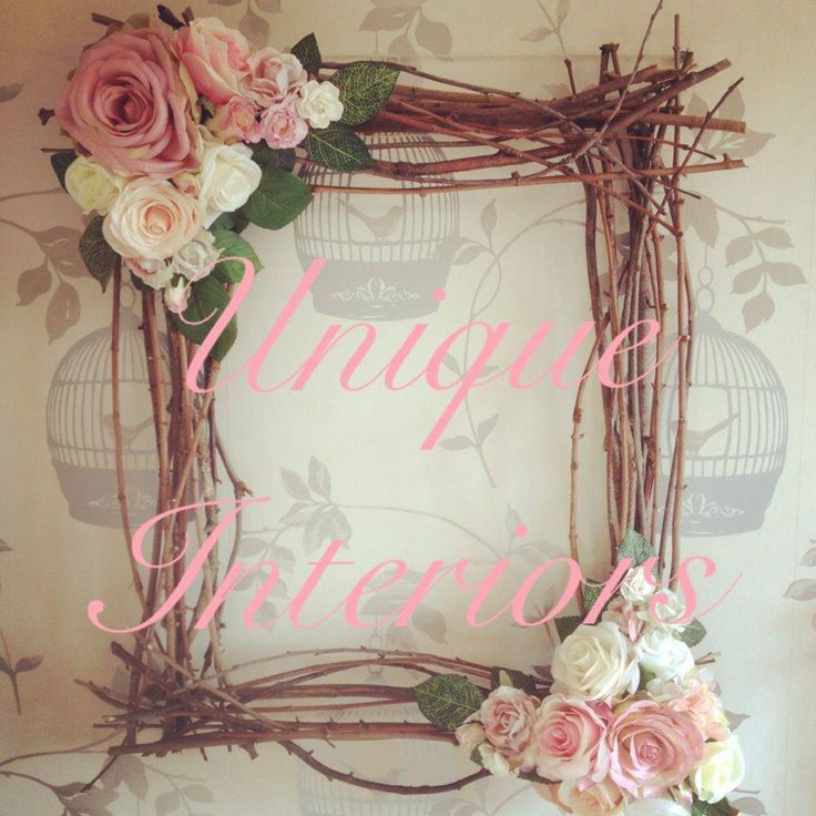handmade wooden frame with flower arrangement
