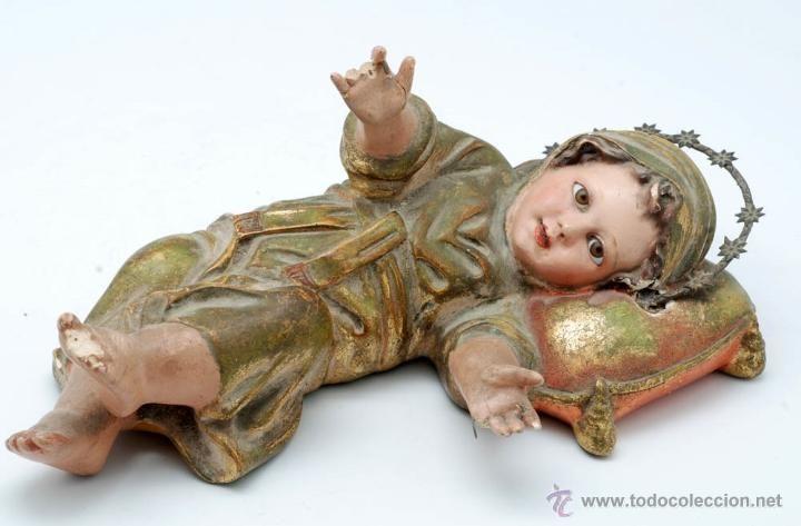 Virgen niña en pasta de madera de Olot años 40
