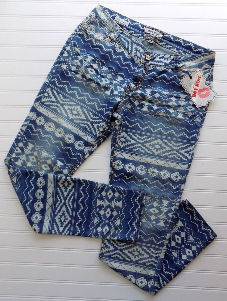 Hot Kiss Skinny Lily Aztec Southwestern Tribal Patterned Women's Jeans Size 13 #HotKiss #SlimSkinny