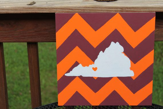 Hokies Hand Painted Chevron Virginia with by AListCreation on Etsy, $30.00
