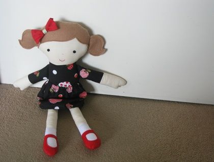 Fabric Doll with brown hair and apple dress