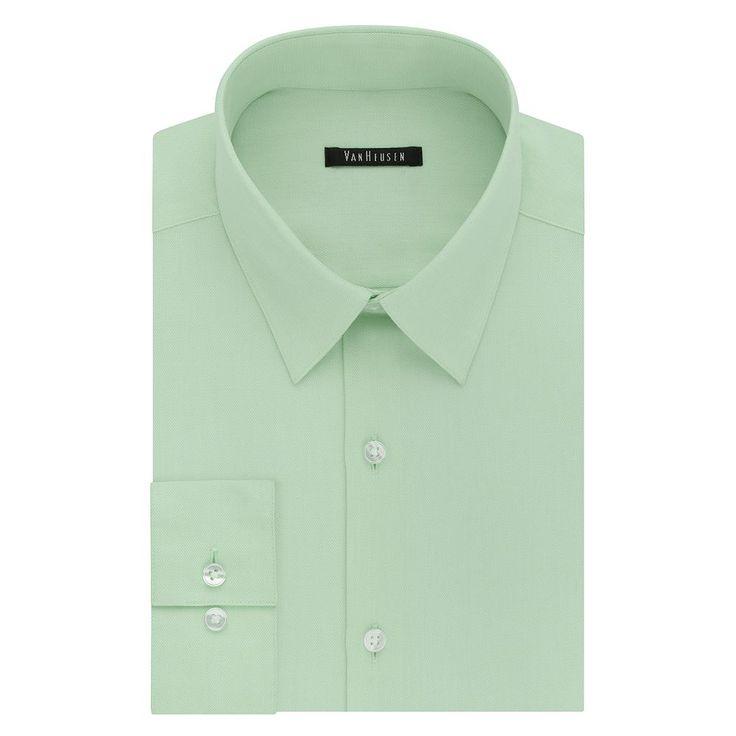 Men's Van Heusen Fresh Defense Slim-Fit Dress Shirt, Size: 18.5 36/37, Green Oth
