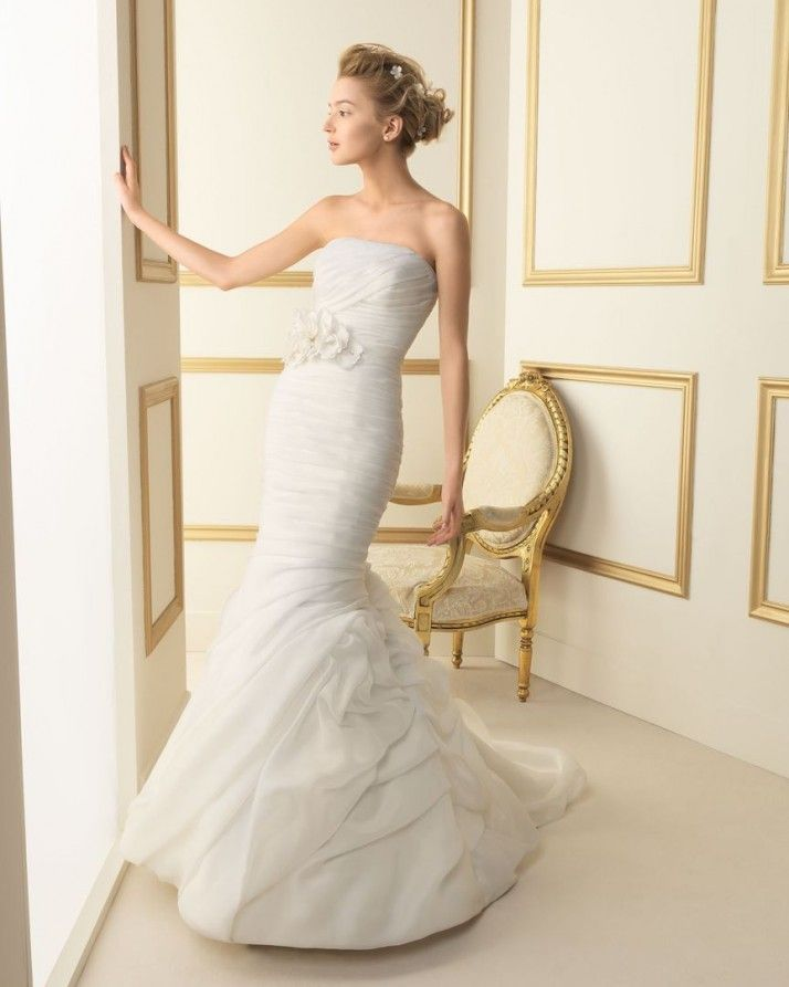 Trending Luna Novias mermaid bridal gown with organza pleats and ruching The Dress by Nicole in Wheaton Illinois