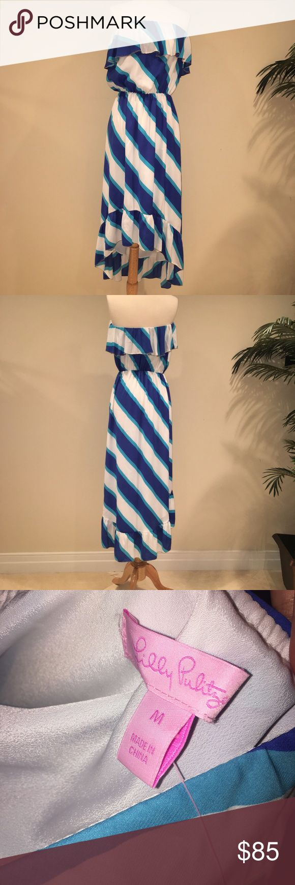 🌸New Lilly Pulitzer spring maxi dress New Lilly Pulitzer spring maxi hi-low dress w gold trim. Excellent condition, never worn! Lilly Pulitzer Dresses Maxi