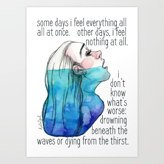 Drowning+in+Depression+Art+Print+by+Arlie+Opal+-+$15.00