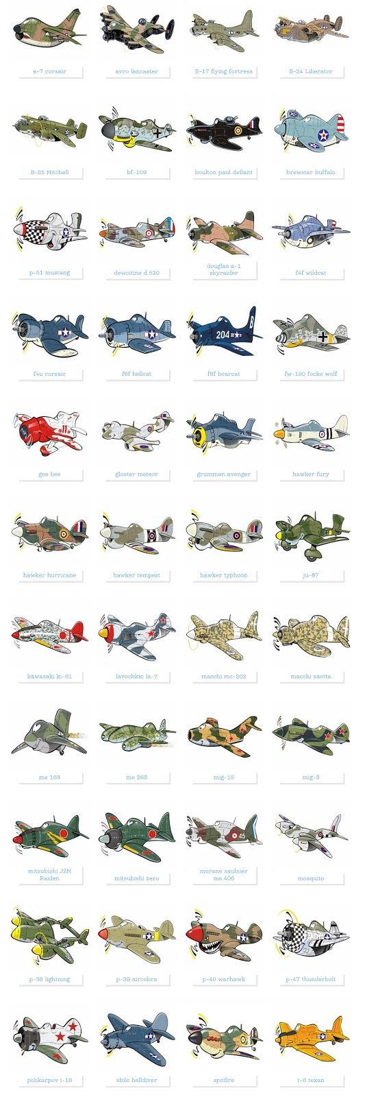 Famous military planes illustrated as cartoon style caricatures