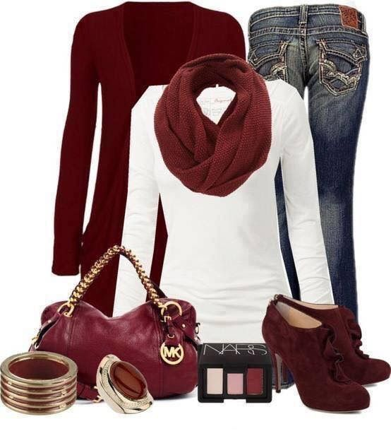 Dark denim skinny jeans, white sweater top, maroon cardigan and scarf