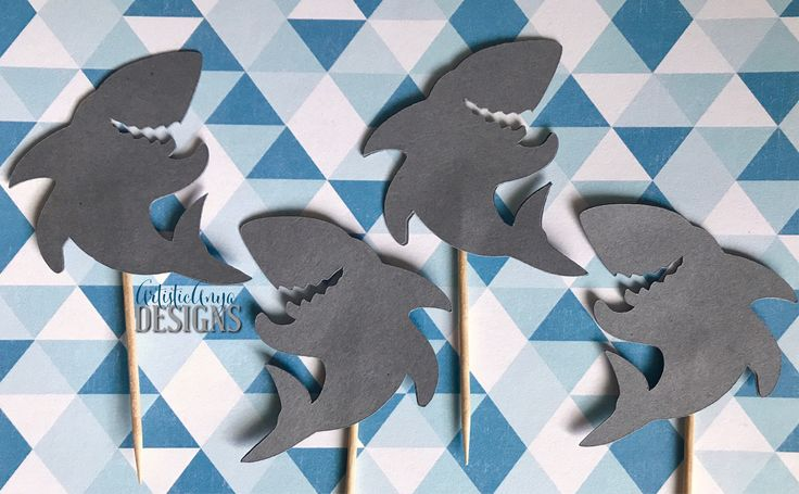 Gray Shark Cupcake Toppers Set of 12 – Shark Party - Jaws - Surfer Party by ArtisticAnyaDesigns on Etsy https://www.etsy.com/listing/530325580/gray-shark-cupcake-toppers-set-of-12