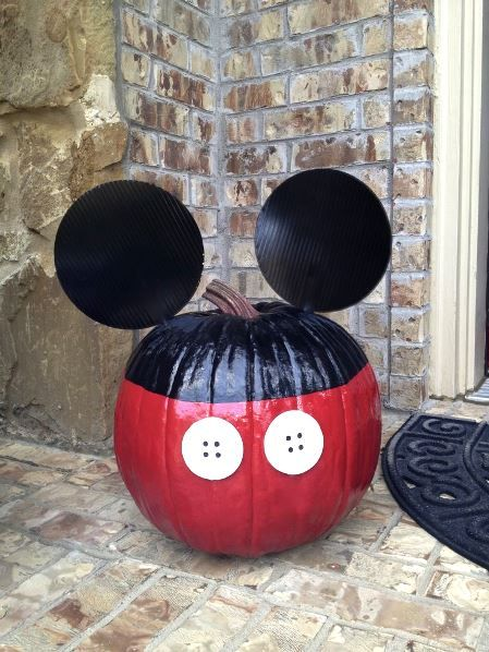 No Carving Mickey Mouse Pumpkin Decoration Both Mickey Mouse Party and Halloween too. lol