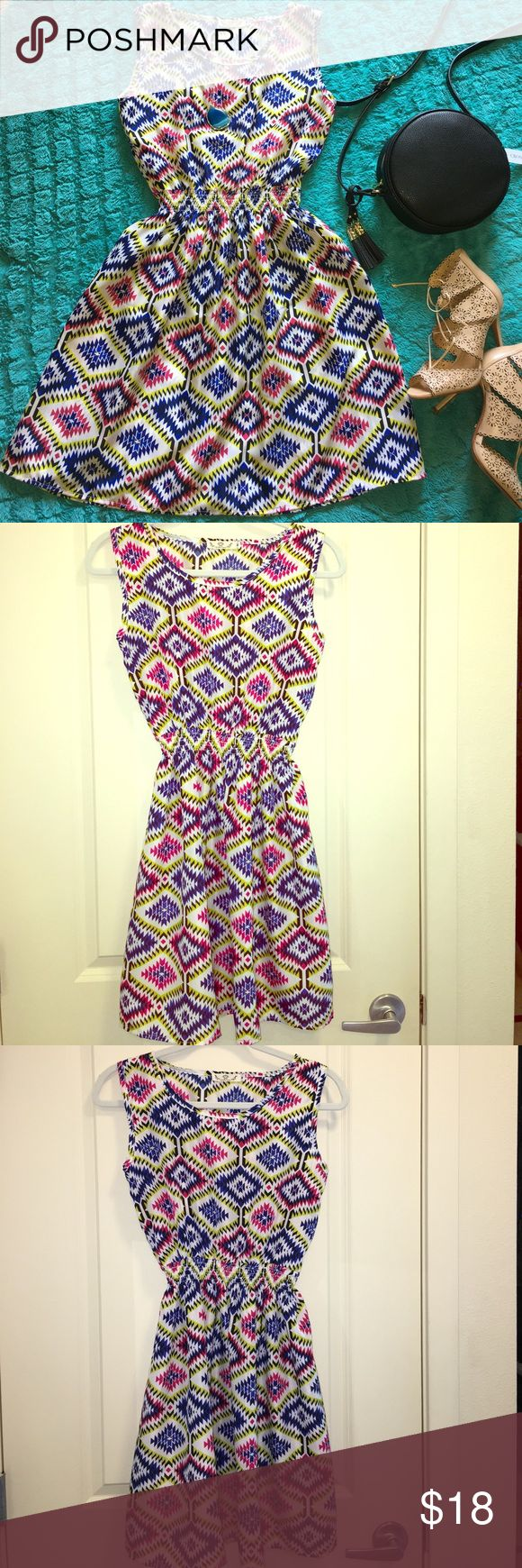 """✨SALE✨🇺🇸🆕 Fun sundress & Aztec BoHo chic style✨ New with tags sexy skater sundress with Aztec BoHo chic style dress 💚Great for  the summer this dress can be worn to parties , date nights , & transfers from day to evening. 🌴Also can work as a beach cover-up. 🌴Material is chiffon. This dress fits a small and a medium comfortably. 💙Bust measures"""" 30""""inches-""""35"""" inches 💚 waist measures 18 inches """"30"""" inches ( elastic waist) 📫 1 Day shipping🛍🛍Bundle for % 10 off ! 😾pet & Odor Free…"""