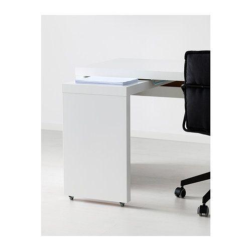 MALM Scrivania con piano estraibile - bianco - IKEA