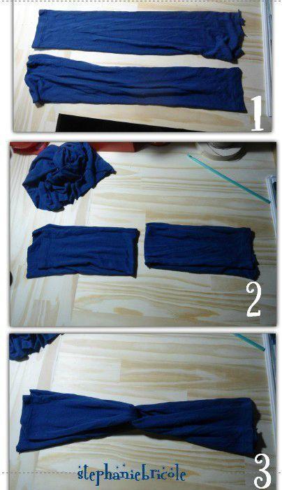 comment faire un bandeau pour les cheveux avec un tee shirt tuto diy headband tricot diy. Black Bedroom Furniture Sets. Home Design Ideas