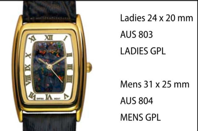 "Australian ""Boulder"" Opal Watches style 804 Mens GPL 31 x 25 mm each click here to add to cart"