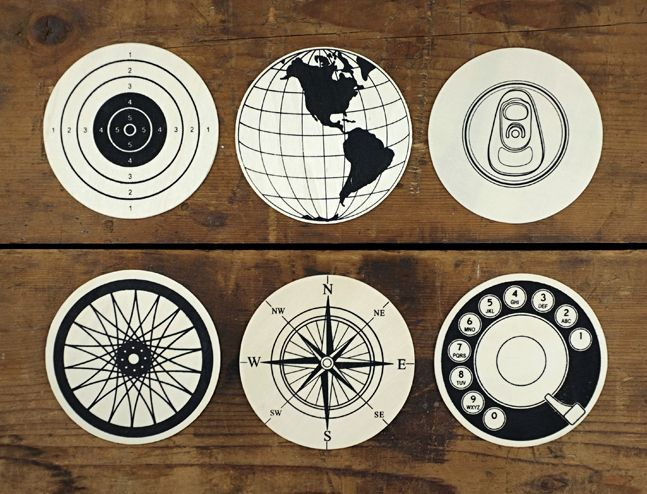Wood Circular Graphic Coasters | Cool Material