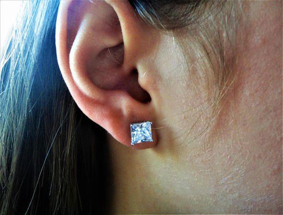 3.92ct Clear/White Princess cut lab Diamond 925 Silver