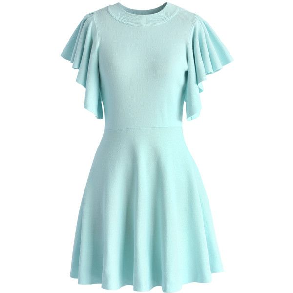 Chicwish Pastel Blue Knitted Skater Dress with Frilling Sleeves ($56) ❤ liked on Polyvore featuring dresses, blue, ribbed dress, day to night dresses, round neck dress, flutter sleeve dress and pastel dresses