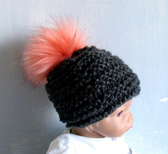 Baby Winter Hat Baby Pom Pom Hat Knit Baby Hat Toque Winter