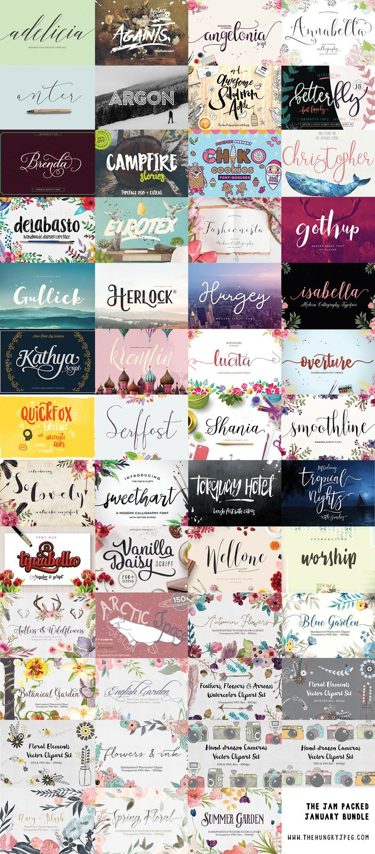 This bundle is arguably the best bundle we've ever put together! The quality of the items included is so high you'll keep going back for more! With an incredible 36 premium fonts and 15 graphics packs, this one is definitely a keeper! Take a look for yourself and remember, once it's gone, it's gone! We are starting 2016 off with one of our best ever font deals.