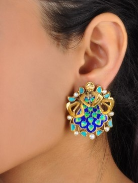 Turquoise & Meenakari Earrings