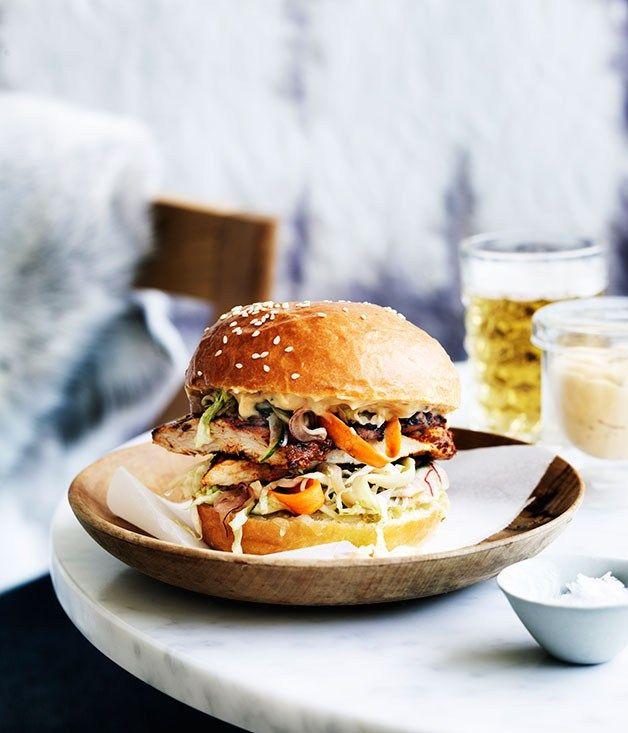 Dirty bird (chicken burger) recipe - Gourmet Traveller