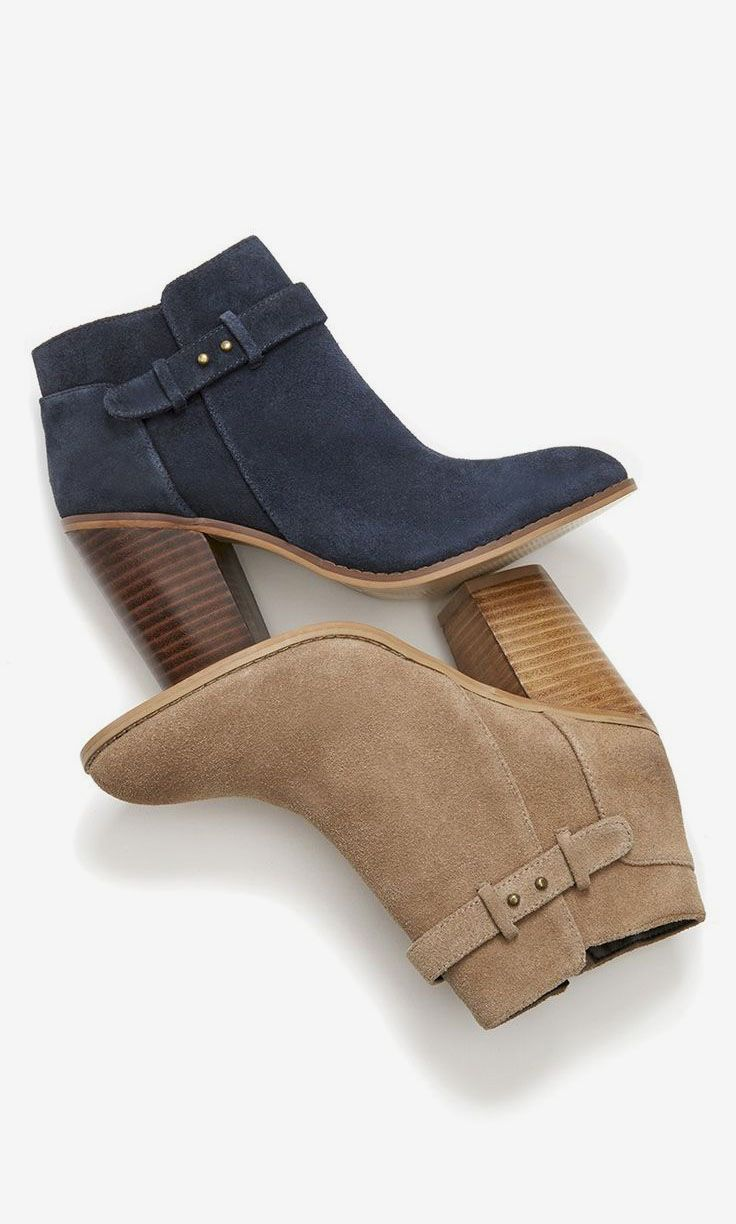 Suede booties with gorgeous buckle detailing along the ankle: