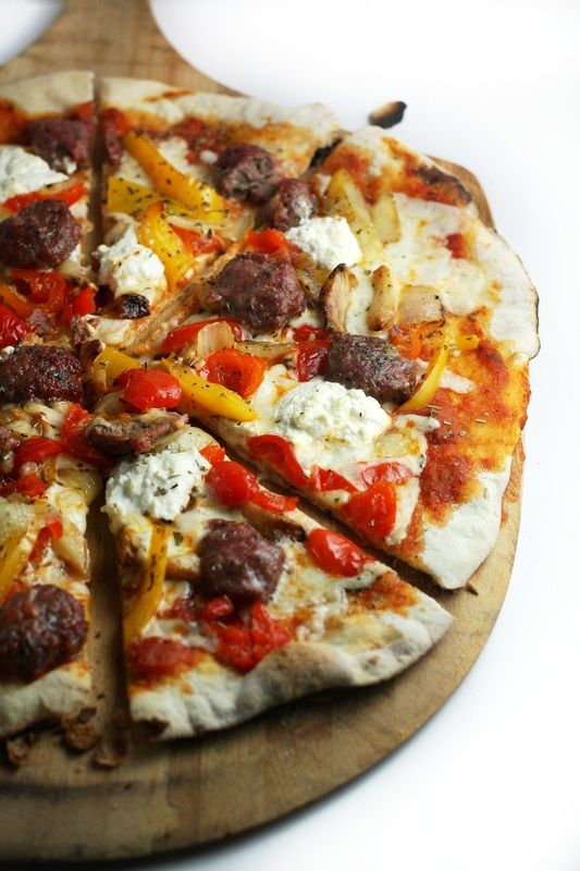 Grilled Meatball Pizza with Peppadews, Ricotta and Whole Roasted Garlic