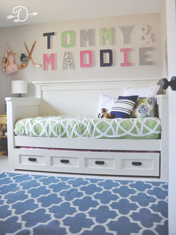 Boy and Girl Shared Bedroom DIY Daybed with Trundle Dear Dawson