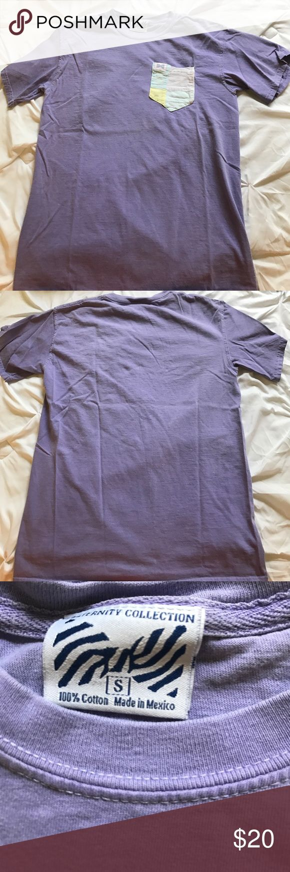 Fraternity Collection Tshirt Light purple small Fraternity Collection Tshirt! Such nice material, feels like comfort colors but it doesn't say it is on the shirt. Has been worn a few times but am selling because it's too small! Wrinkled in the pictures but there are no flaws with the shirt! Fraternity Collection Tops Tees - Short Sleeve