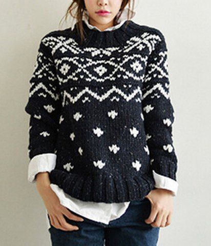 Fashionable Round Collar Long Sleeve Slimming Women's Sweater
