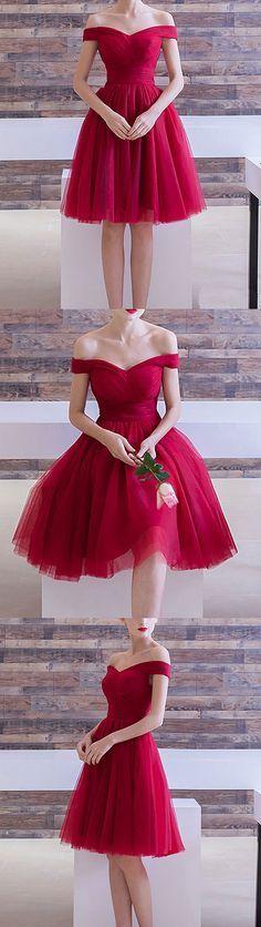 burgundy off shoulder short prom dress, burgundy homecoming