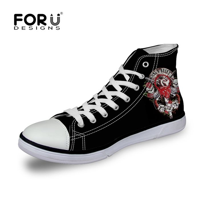 FORUDESIGNS Men Footwear Lace-up High Canvas Shoes Fashion Platform Men Plimsolls Shoes Punk Style Skull Print Breathable Shoes