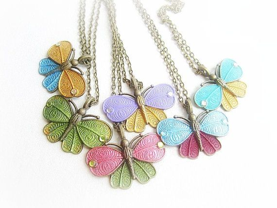 Vintage butterfly charm necklace simple charm by MalinaCapricciosa, $12.00