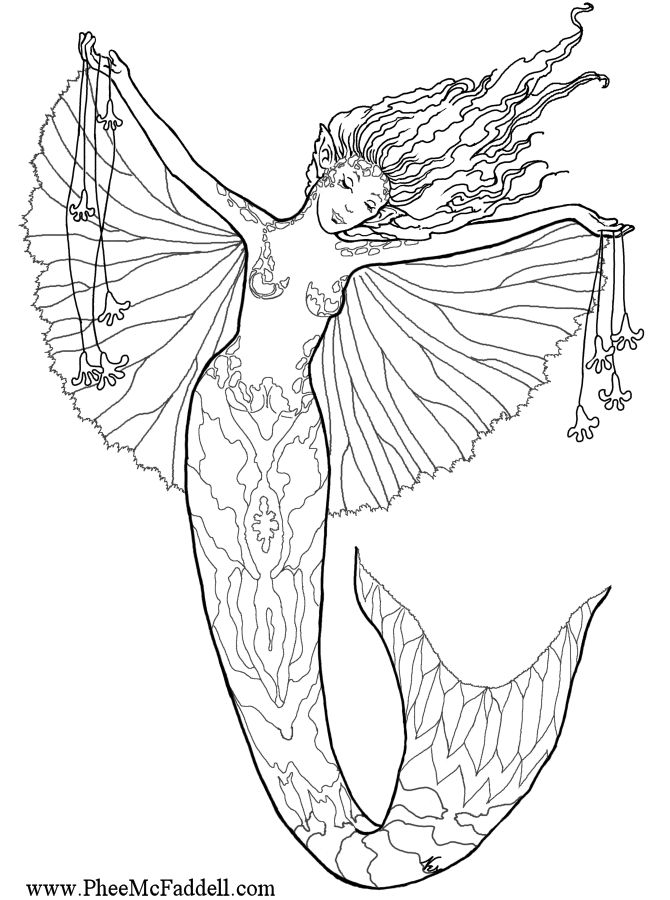 Here Are Some Free Fairy Fantasy Mermaid Coloring Pages By Phee McFaddell